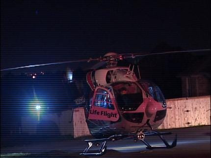 Driver Rolls Car, Flown To Tulsa Hospital