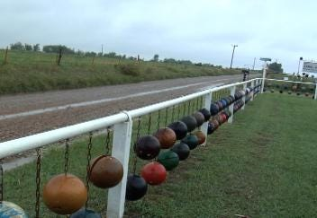 Chris and Amy's Bowling Ball Yard Art