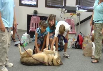 Wolf Greets New Students at Thoreau Demonstration Academy
