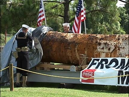 USS Oklahoma Mast Unveiled In Muskogee
