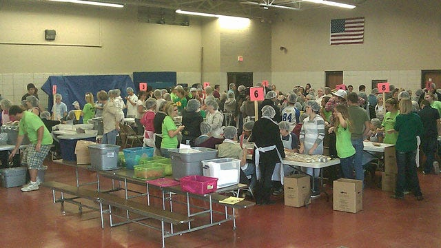 Oologah-Talala High School Students Box Up Meals For Haiti