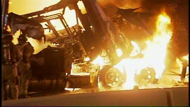 Westbound I-44 In Tulsa Back Open After Fiery Truck Crash