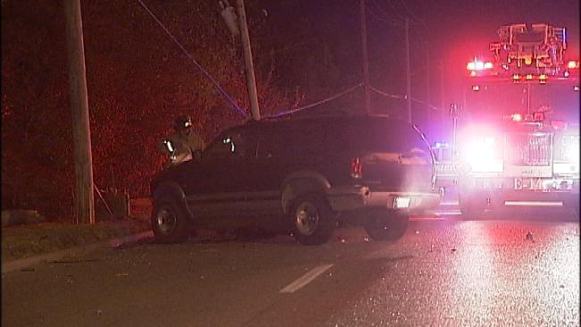 Driver Crashes Into Two Tulsa Utility Poles Late Tuesday