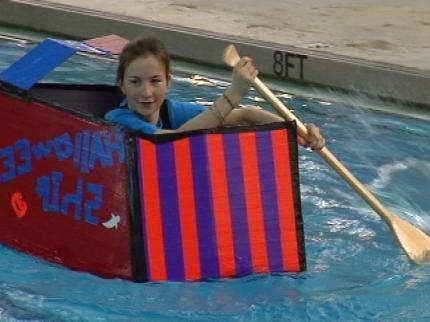 Tulsa Carver Middle School Holds Cardboard Regatta
