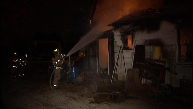Tulsa Firefighters Battle Blaze In Mechanic's Garage