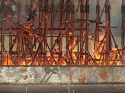 Charred Remains Of Tulsa's Admiral Twin Drive-In Cleared