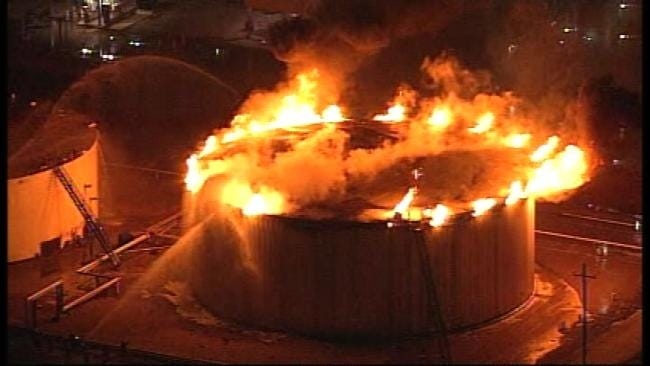 Fumes From 'Slop' Tank Catch Fire At West Tulsa Refinery