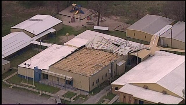 Classes Canceled After Wind Blows Roof Off Spavinaw School