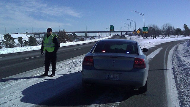 Tulsa Police Slow Traffic On U.S. 169 While ODOT Treats Ice Covered Highway