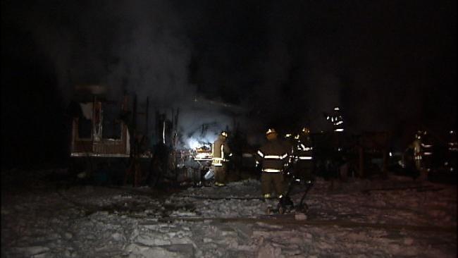Fire Crews Battle Wagoner County Trailer Fire