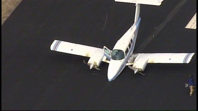 Front Landing Gear Collapses As Airplane Lands At Jones Riverside Airport