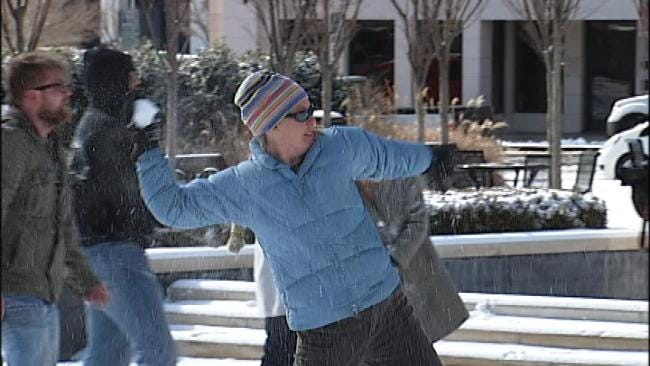 Community Snowball Fight Breaks Out In Downtown Tulsa
