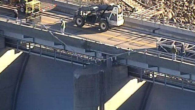 Crane Working On Kaw Lake Dam Falls Into Lake