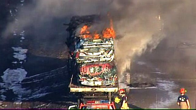 Traffic Still Restricted On Turner Turnpike Near Bristow After Semi Truck Fire