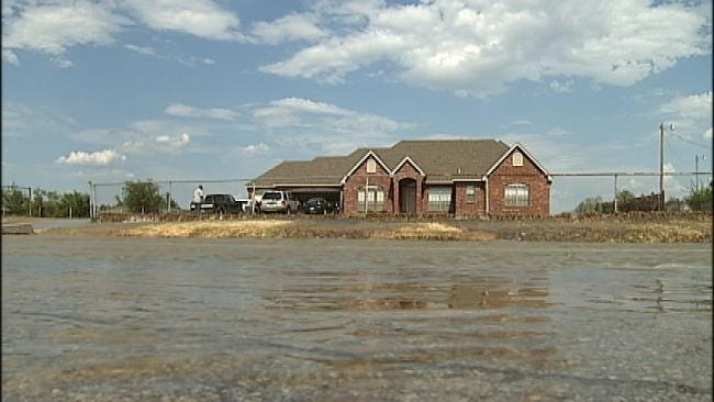 North Tulsa Water Break Floods Neighborhood, Cuts Off Service For Many