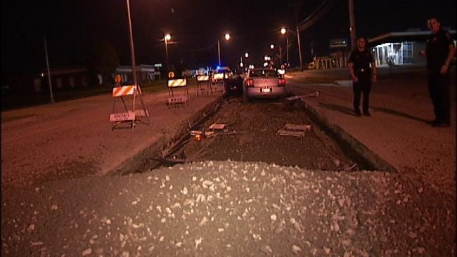 Tulsa Police: Inattentive Driving Sent Car Flying Over Gravel Pile