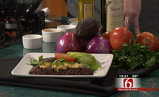 Grilled Hanger Steak With Deconstructed Guacamole Salad And Tabasco Butter