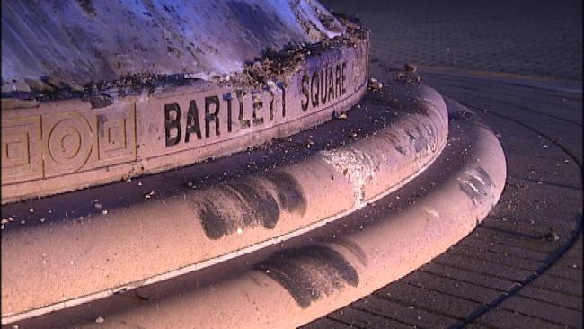 Driver Ramps Pickup Over Tulsa's Bartlett Square Fountain