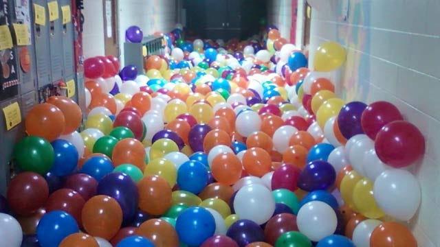 Senior Prank Fills Verdigris High School Hallways With Balloons