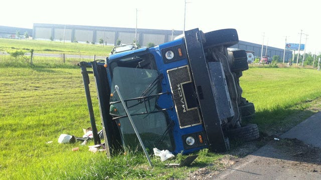 Trash Truck Rolls Over, Slowing Traffic On Tulsa's Highway 169