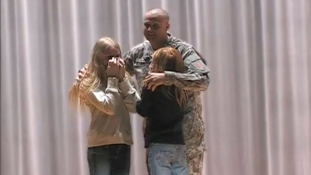 WATCH: Military Dad Surprises Daughters At Ponca City School
