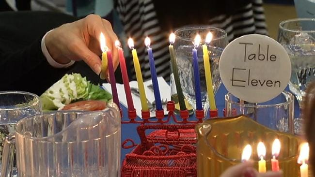 Tulsa's Jewish Community Celebrates Final Night Of Hanukkah