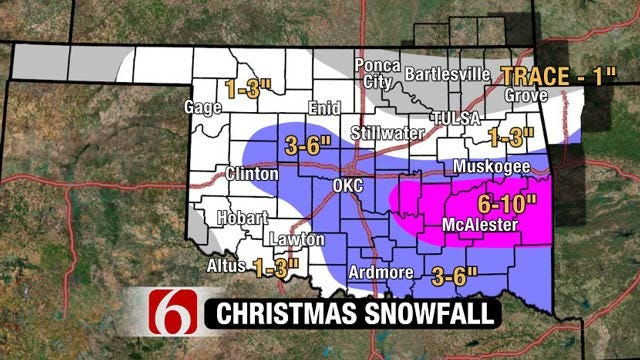 Christmas Day Snow Storm Worst Along, South Of I-40