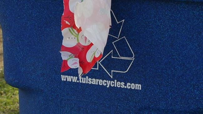 Tulsa's Recycling Carts Full With Christmas Packaging