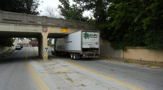 Truck Gets Stuck Under Railroad Bridge Near Downtown Tulsa