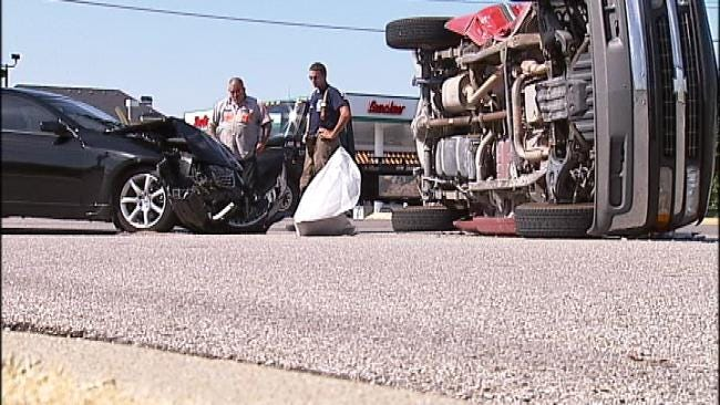 Truck Ends Up On Its Side After Collision With Car In South Tulsa