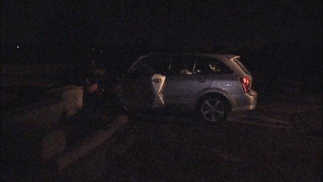 Car Catches Fire After Hitting East Tulsa Street Guardrail