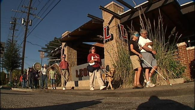 Local Lawmakers Stroll Blindly Down Brookside For White Cane Awareness Day