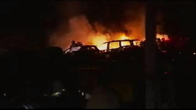 Early-Morning Sapulpa Fire Damages Dozen Cars
