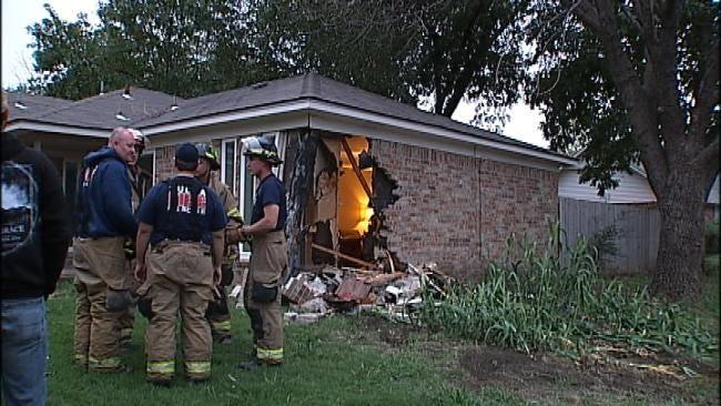 Man Crashes Car Into Tulsa Family's Home
