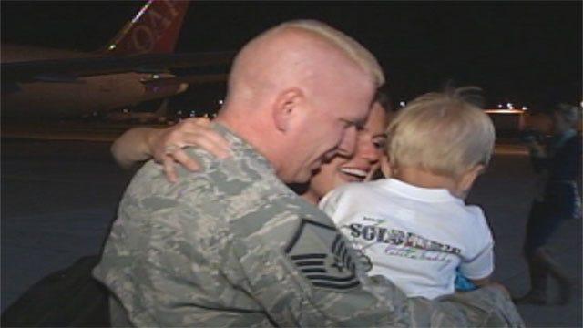 Dozens Of Airmen Return To Oklahoma Following UAE Deployment