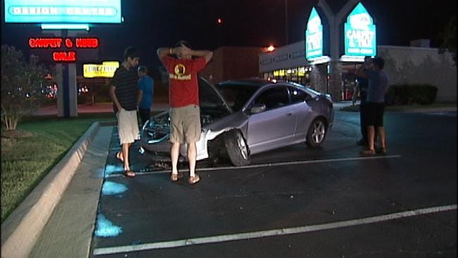No One Injured When Driver Crashes On South Tulsa Street