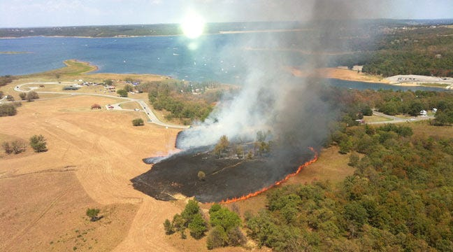 Small Grassfire Breaks Out At Skiatook Lake