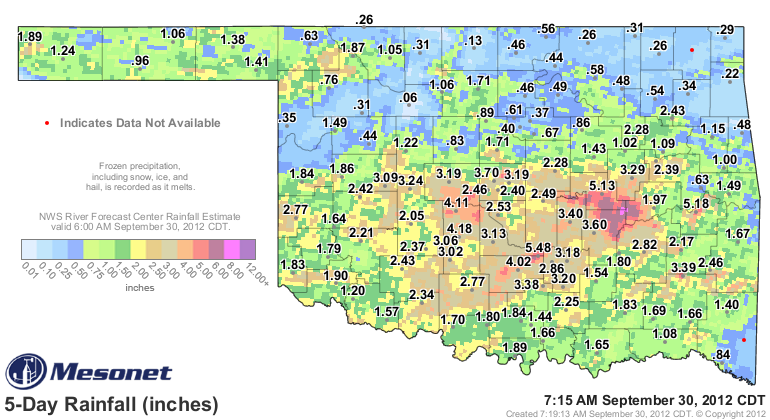 Rainfall Totals Over the Last Few Days.