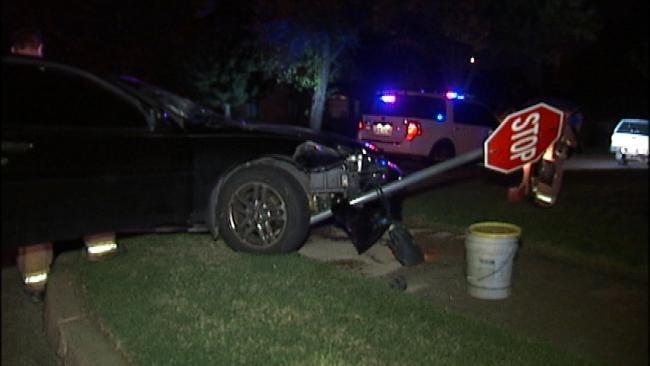 Tulsa Police Say Car Misses Turn, Slams Into Stop Sign