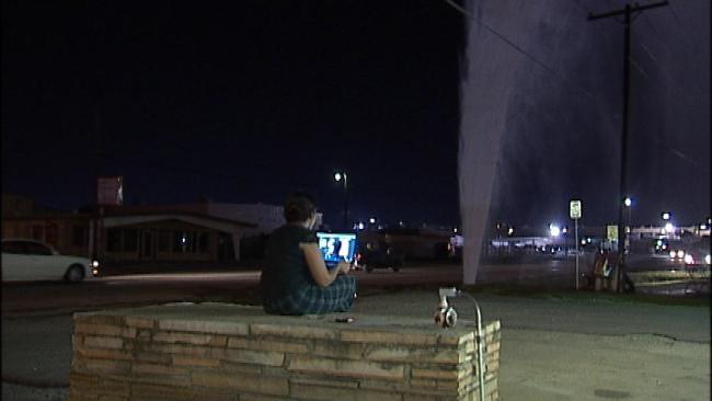 East Tulsa Water Geyser Draws A Crowd