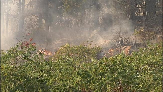 Firefighters Fight Brush Fire Fueled By High Winds Near Sperry