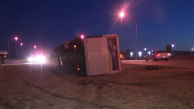 Crash Flips Bread Truck On Tulsa Highway