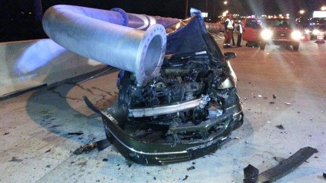 Driver Arrested After Hitting Sign Pole On Tulsa's I-244