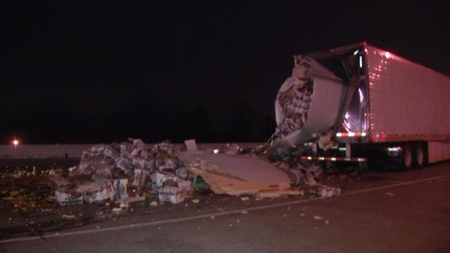 Semi Truck Spills Load Of Vegetables On Turner Turnpike