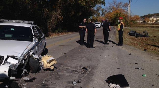 Police Car Collides With Motorcycle In South Tulsa
