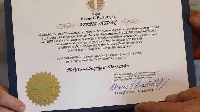 Tulsa Company Honored For Volunteer Debris Removal