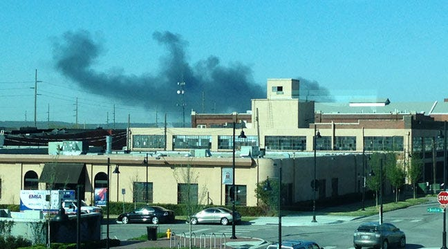 Thick Black Smoke Caused By Tulsa Refinery Training Fire