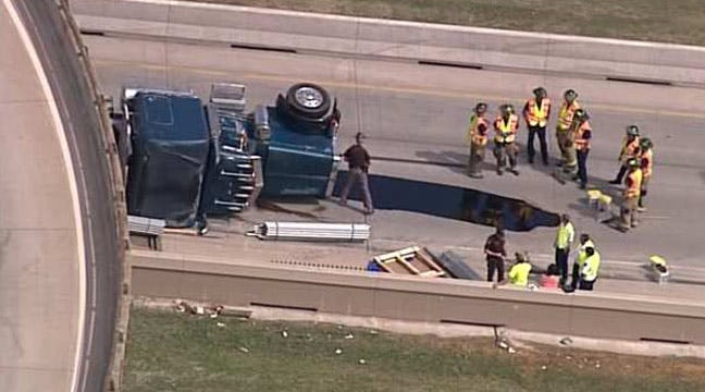 Semi Overturns On Tulsa's IDL At Tisdale Expressway