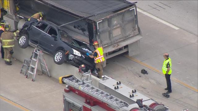 Two Officers Hurt When Dump Truck Hits Tulsa Police Car