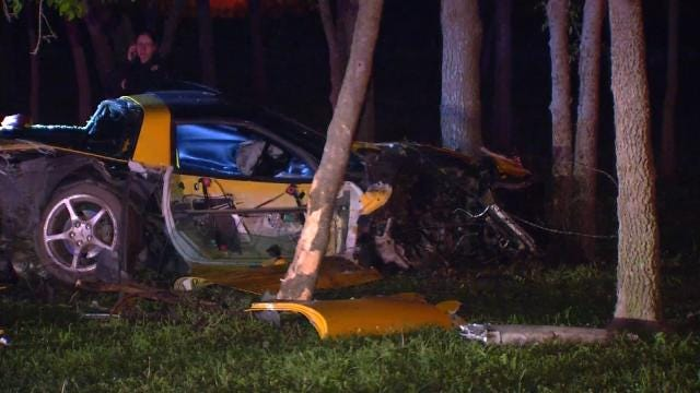 Corvette Totaled In High-Speed Crash In East Tulsa